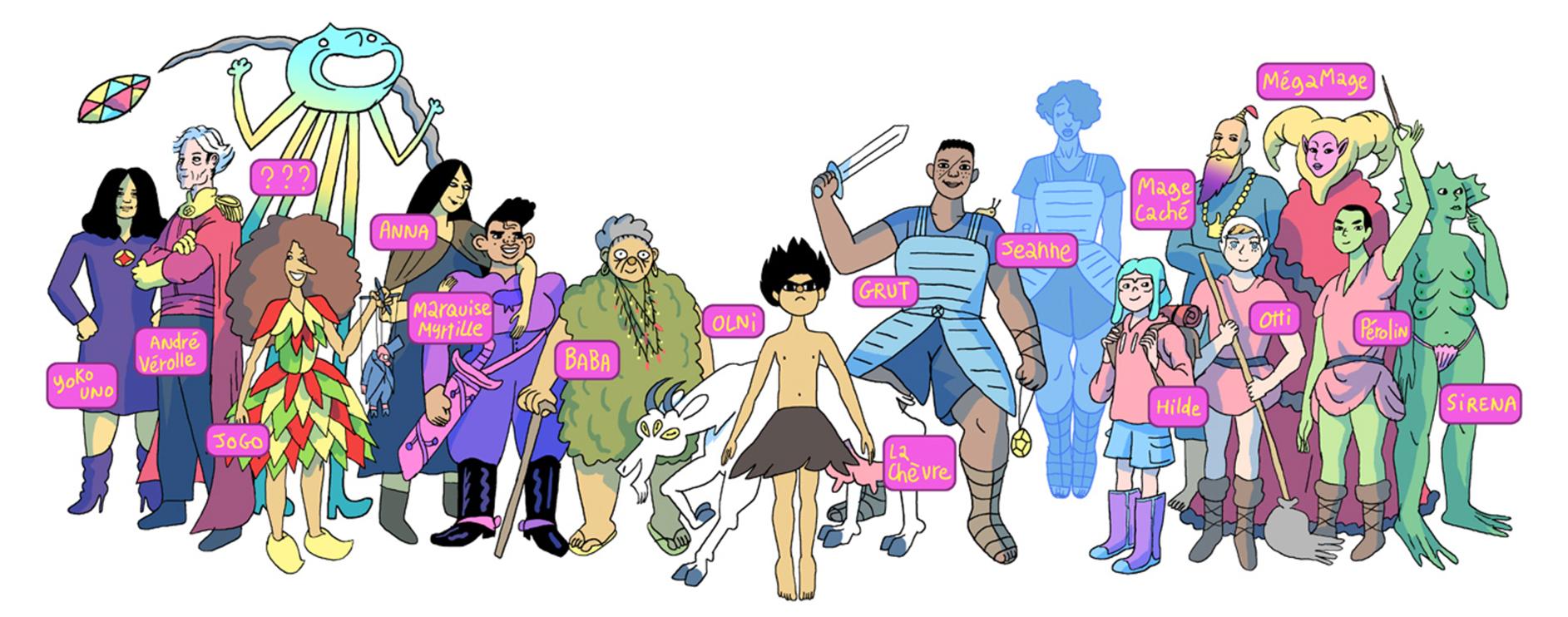 Les personnages au grand complet